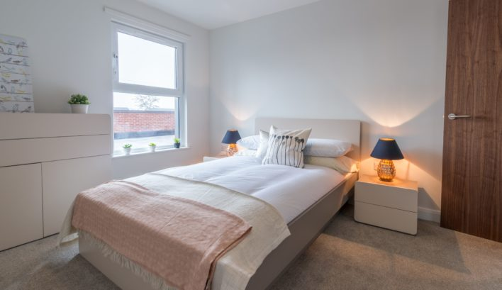 Sleep peacefully in the generous double bedroom of our 1-bedroom apartments