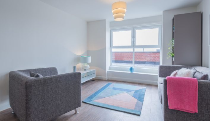 Light floods in through the large windows of our 1-bedroom apartments