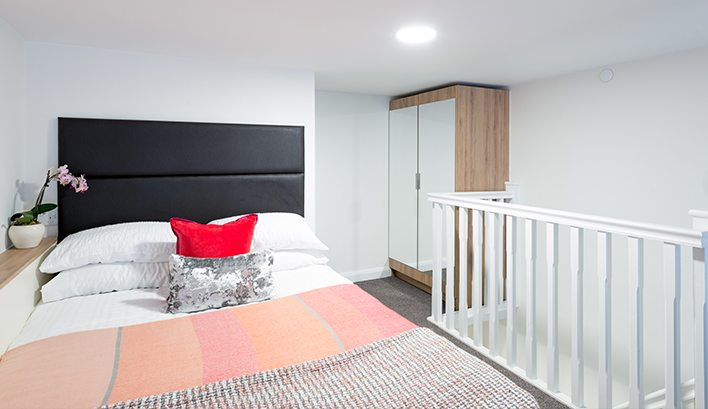 Taking studio accommodation to the next level; explore our mezzanine studio apartments in Leeds