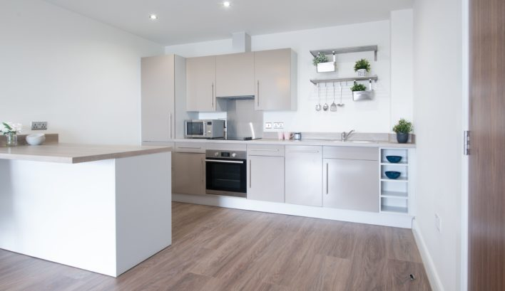 The ergonomic design of our high-spec kitchens are a stand-out feature of our 1-bedroom apartments